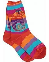 Laurel Burch Women's Wavy Stripe Rainbow Cat Sock, Multi, 9-11