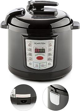 KLARSTEIN Fast Flavour Olla a presión multifunción (900W, fácil y rápido manejo, 5 litros de Capacidad, conservación de la Temperatura) - Negro: Amazon.es