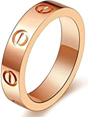 SHIRIA Love Rings Lifetime Promise with Screw Design Best Gifts for Love with Valentine's Day Promise Engagement Wedding