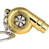 Maycom Creative Spinning New Chrome Polished Gold Turbo Turbocharger Keychain Key Chain Ring Keyring Keyfob,Make Whistle Sound
