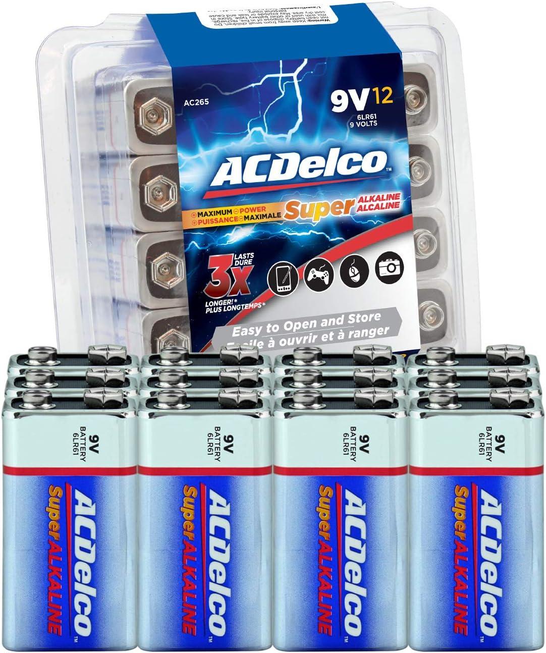 Amazon Com Acdelco 12 Count 9 Volt Batteries Maximum Power Super Alkaline Battery 7 Year Shelf Life Recloseable Packaging Electronics