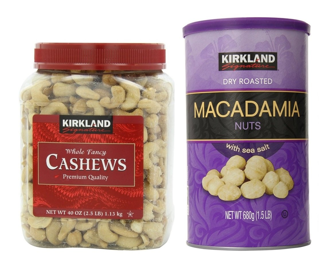 Kirkland Signature Cashewsa and Macadamia Nuts Bundle - Includes Kirkland Signature Whole Fancy Cashews (2.5 LB) and Dry Roasted Macadamia Nuts with Sea Salt (1.5 LB)