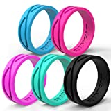 Amazon Price History for:RINFIT Women's Silicone Ring | Wedding Band – 5 Rings Pack - Designed Silicone Rings - Black, Turquoise, Blue, Pink, Purple - Comes with a Gift Box!