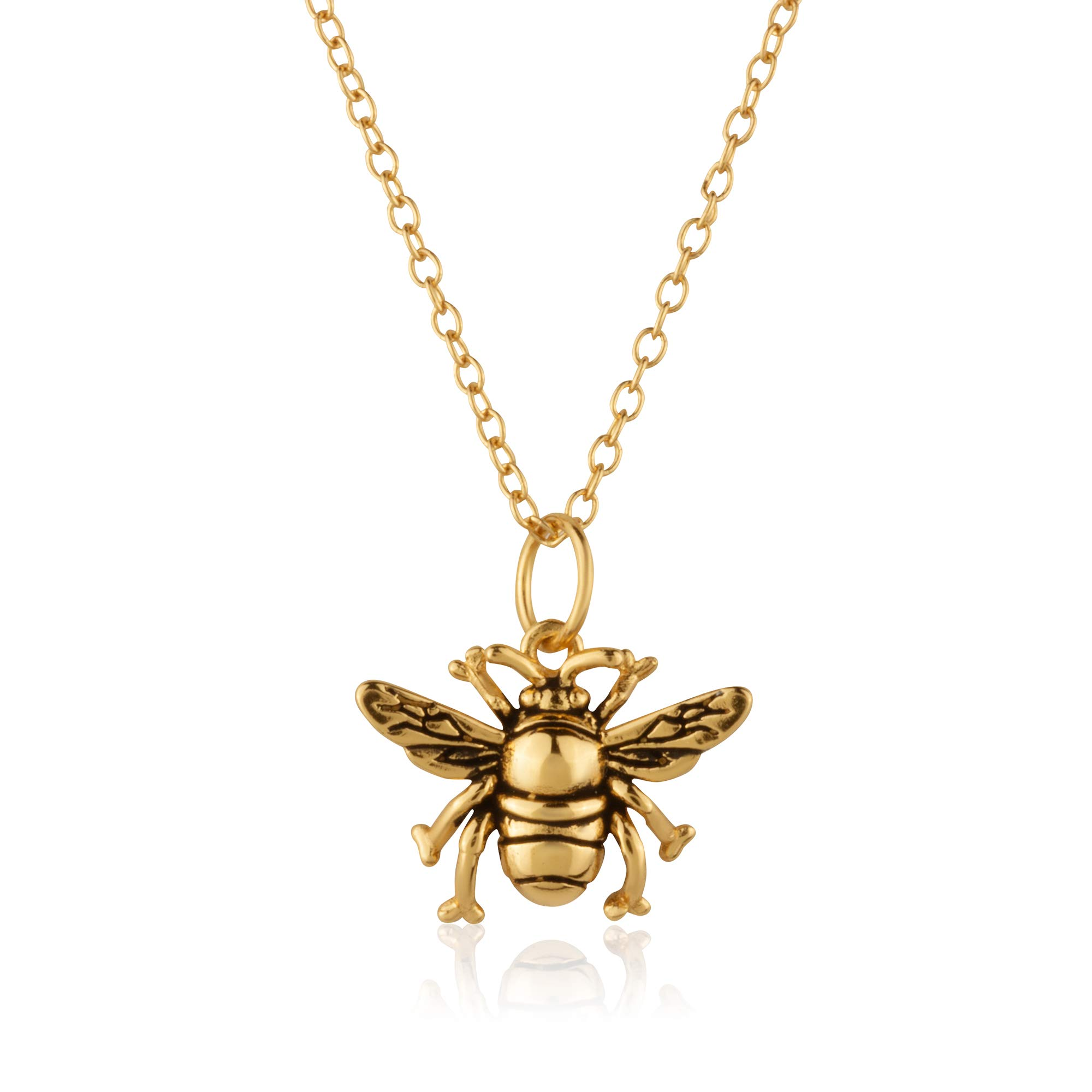 Sterling Silver 18K Yellow Gold Plated 3D Bumblebee Pendant/Charm, with 18-Inch Chain - in Beautiful Antique Brushing