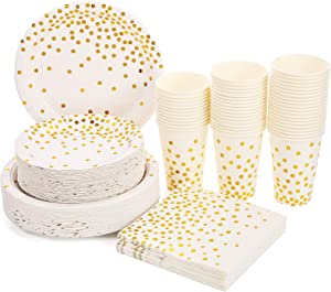 White and Gold Party Supplies 200PCS Disposable White Paper Plates 12oz Cups Napkins Dinnerware Set Golden Dot Theme Party Bridal Shower Birthday Wedding Engagement, Serves 50