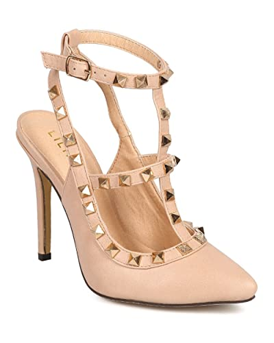 46cb746c4f974 Liliana Women Leatherette Pointy Toe Gladiator Stiletto Studded Pump DA41 -  Nude