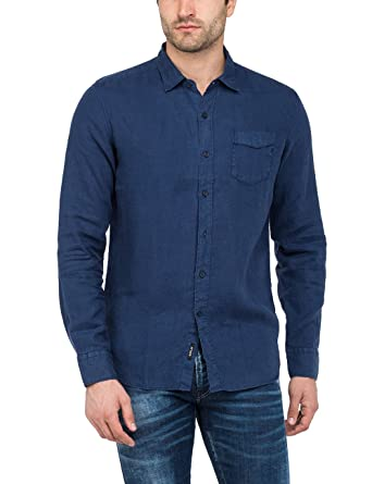 0ff0508e471 Replay Long Sleeve Linen Shirt  Amazon.co.uk  Clothing