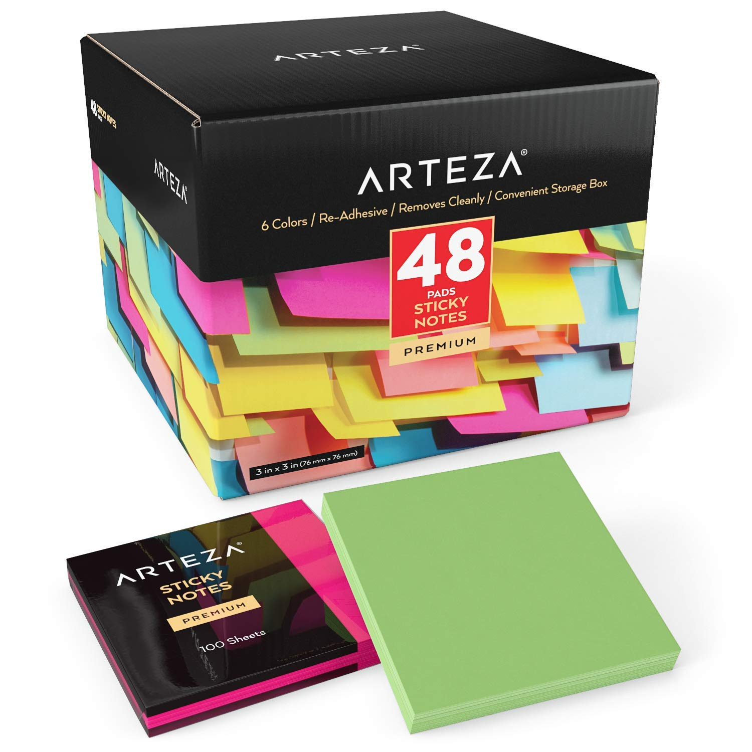 ARTEZA 3x3 Inches Sticky Notes, 48 Pads, 100 Sheets Per Pad, Bulk Pack, Assorted Colors, Re-Adhesive, Clean Removal, for Reminders, Studying, Office, School, and Home by ARTEZA