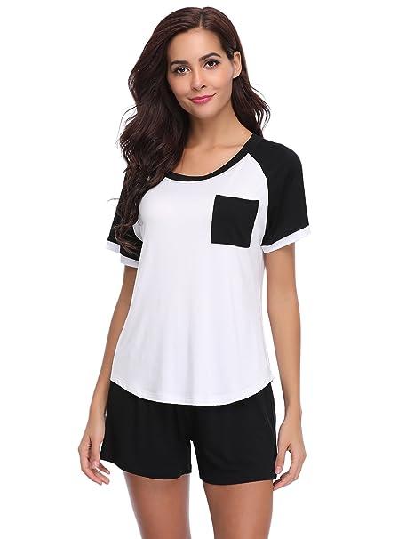 Aibrou Pijamas Mujer Verano Corto del 95% Algodón 2 Piezas, Más Suave Comodo Ligero y Agradable: Amazon.es: Ropa y accesorios