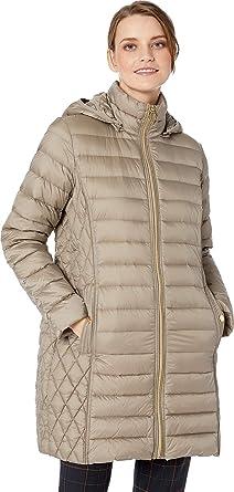 7dc8703e6c7 Michael Michael Kors Women's Zip Front 3/4 Packable with Hood M823687G32 at  Amazon Women's Coats Shop
