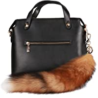 URSFUR Genuine Canadian Red Fox Tails Fur Bag Charm Pendant