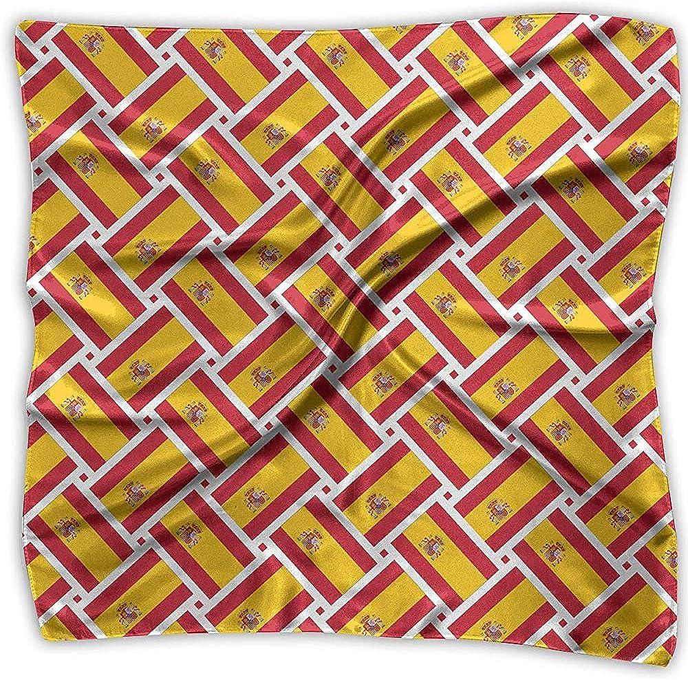 Uridy Pañuelo de satén cuadrado Tejido de bandera de España Seda como pañuelos ligeros Pañuelo para la cabeza Chal Pañuelo en la cabeza: Amazon.es: Ropa y accesorios