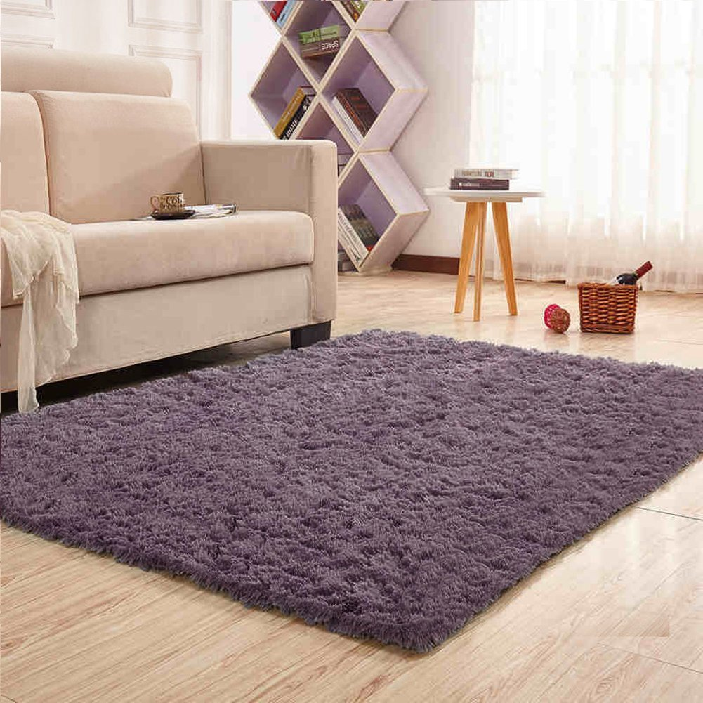 Noahas Super Soft Modern Shag Area Rugs Fluffy Living Room Carpet Comfy Bedroom Home Decorate Floor Kids Playing Mat 4 Feet by 5.3 Feet