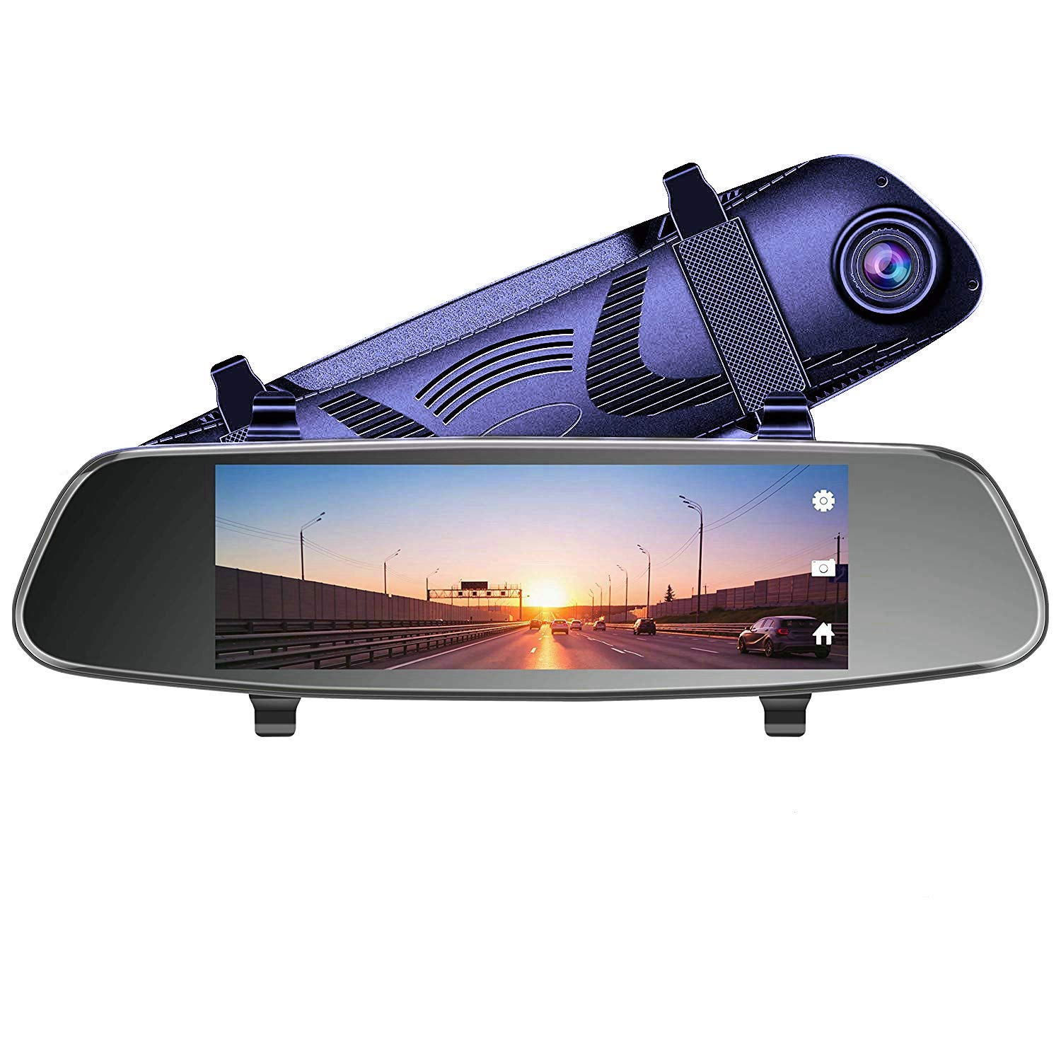 AUKEY Dash Cam Mirror 6.8'' LCD Touchscreen Car Camera with Backup Camera and Parking Mode 1080p 170° Front Camera and 720p 160° Water-Resistant Rear Camera-Blue
