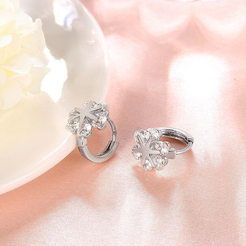 Amazon.com: White Gold Snowflake Flower Small Hoop Earrings For ...