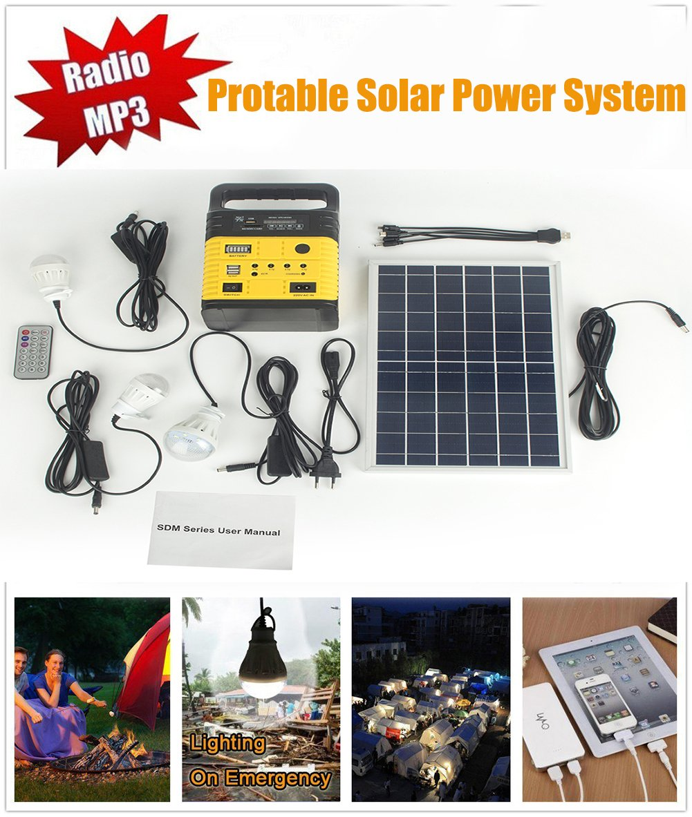 Solar Generator Portable kit,Power Inverter,Solar Generator System for Home & Camping,Power Mini DC6W Solar Panel 6V-9Ah Lead-acid Battery Charging LED Light USB Charger System