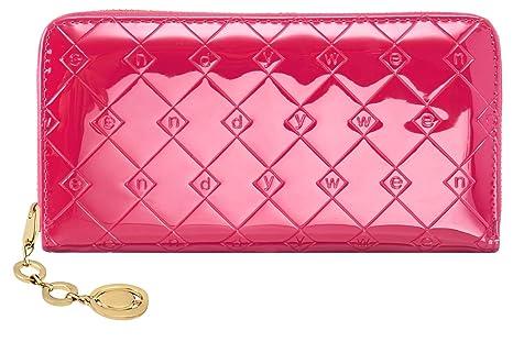e35b1394a1032e PU-Leder lange Brieftasche glänzend rosa Damen-Geldbörse mit Reißverschluss