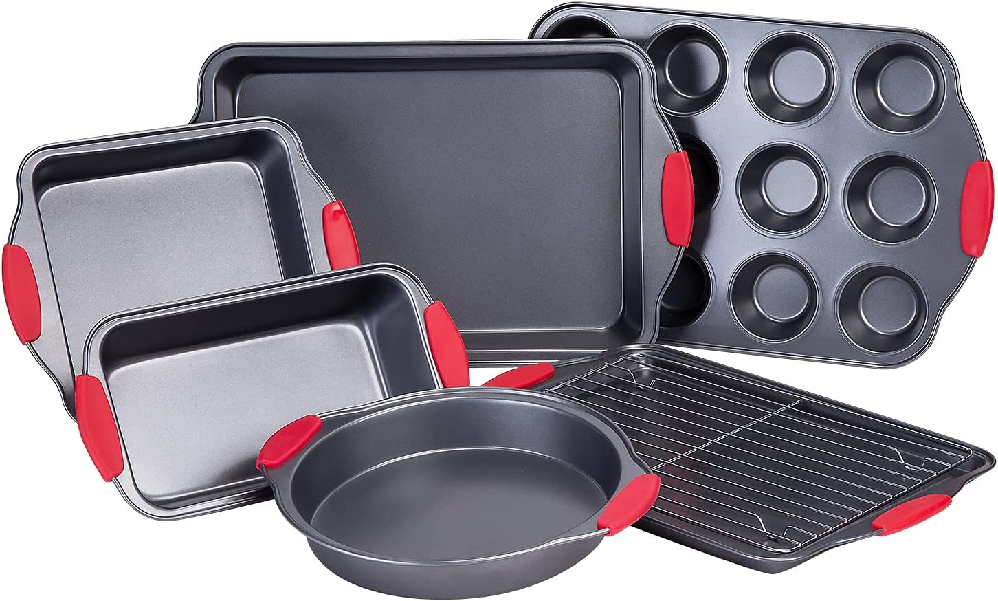 Nuovoo 7 Piece Baking Pan Set Non-Stick Carbon Steel Bakeware Set with Red Silicone Handles, Cookie Sheet, Loaf Pan, Muffin Pan, Roasting Pan,Cake Pans Oven Safe,Black
