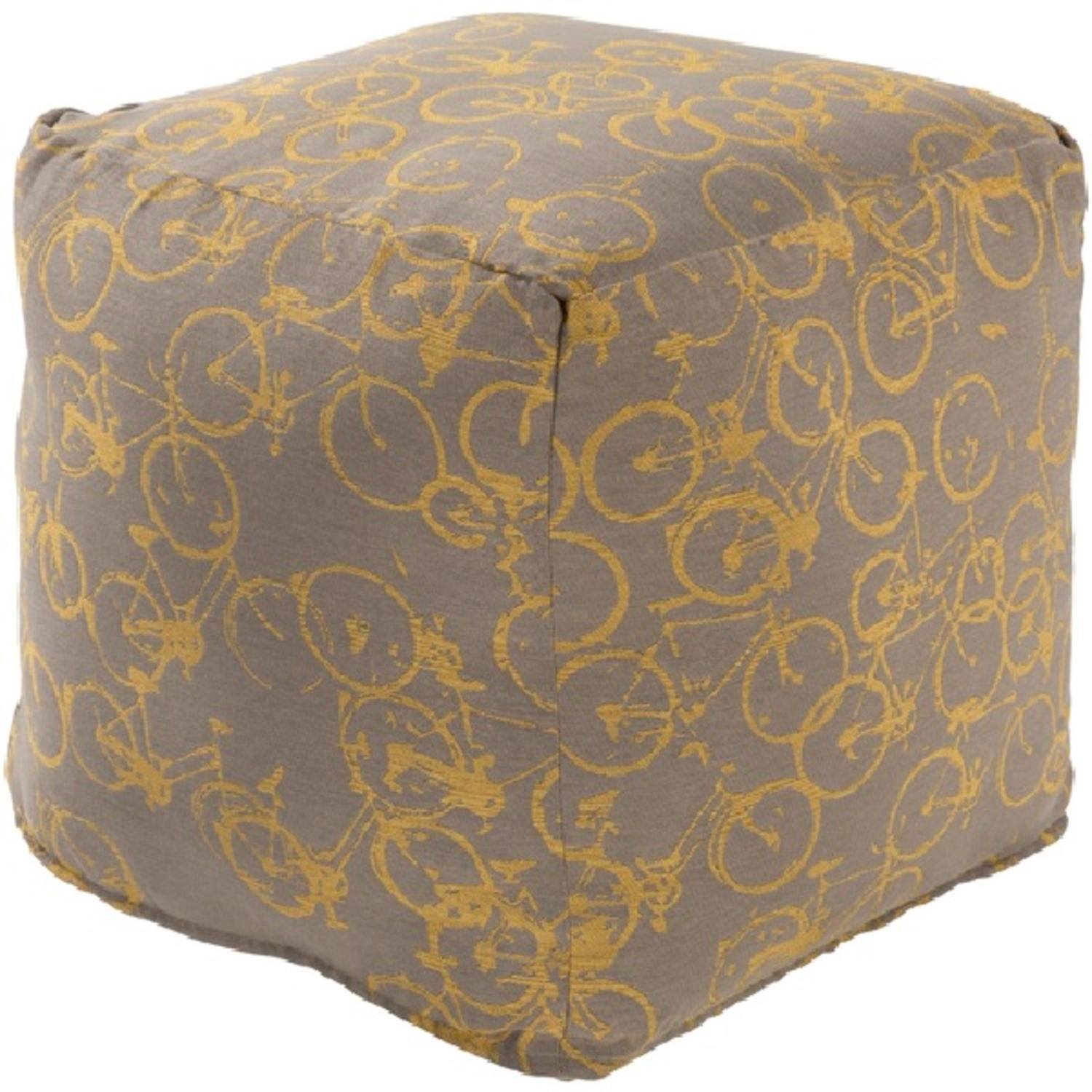 18'' Peddle Power Gray and Golden Yellow Whimsical Square Pouf Ottoman