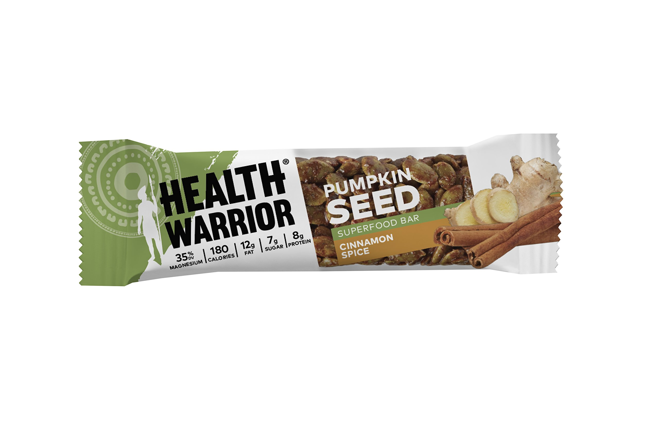 Health Warrior Pumpkin Seed Bars, Cinnamon Spice, 8g Plant Protein, 12 Count