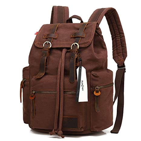 ad456c11d25 Vintage Travel Canvas Leather Backpack,Laptop Backpacks Rucksack,Shoulder  Camping Hiking Backpacks School Bag