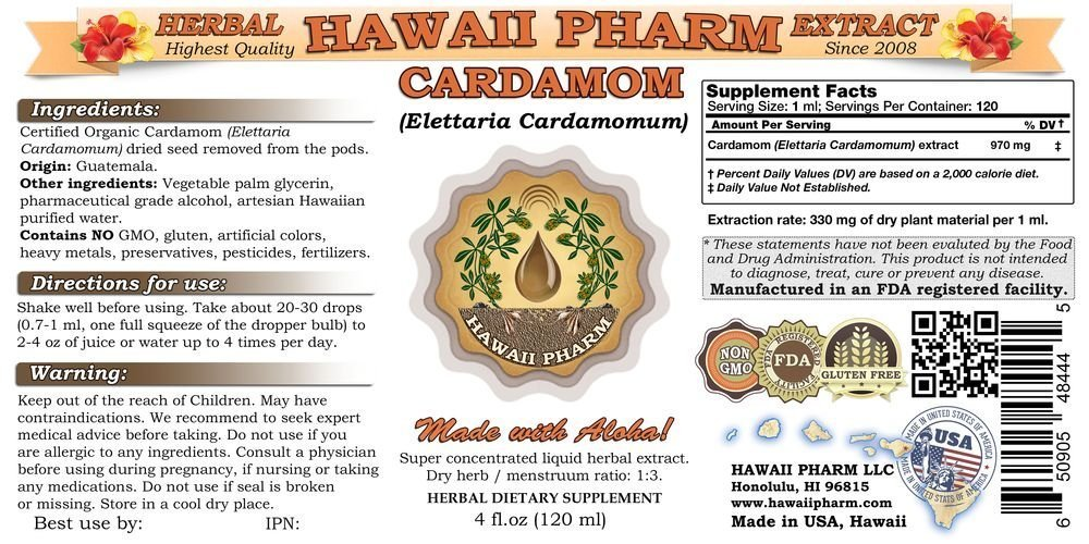 Cardamom Liquid Extract, Organic Cardamom (Elettaria cardamomum) Dried Removed Tincture Supplement 4x4 oz by HawaiiPharm (Image #2)