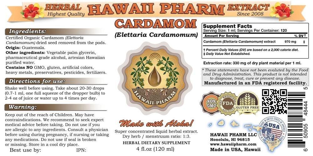 Cardamom Liquid Extract, Organic Cardamom (Elettaria cardamomum) Dried Removed Tincture Supplement 4 oz by HawaiiPharm (Image #2)