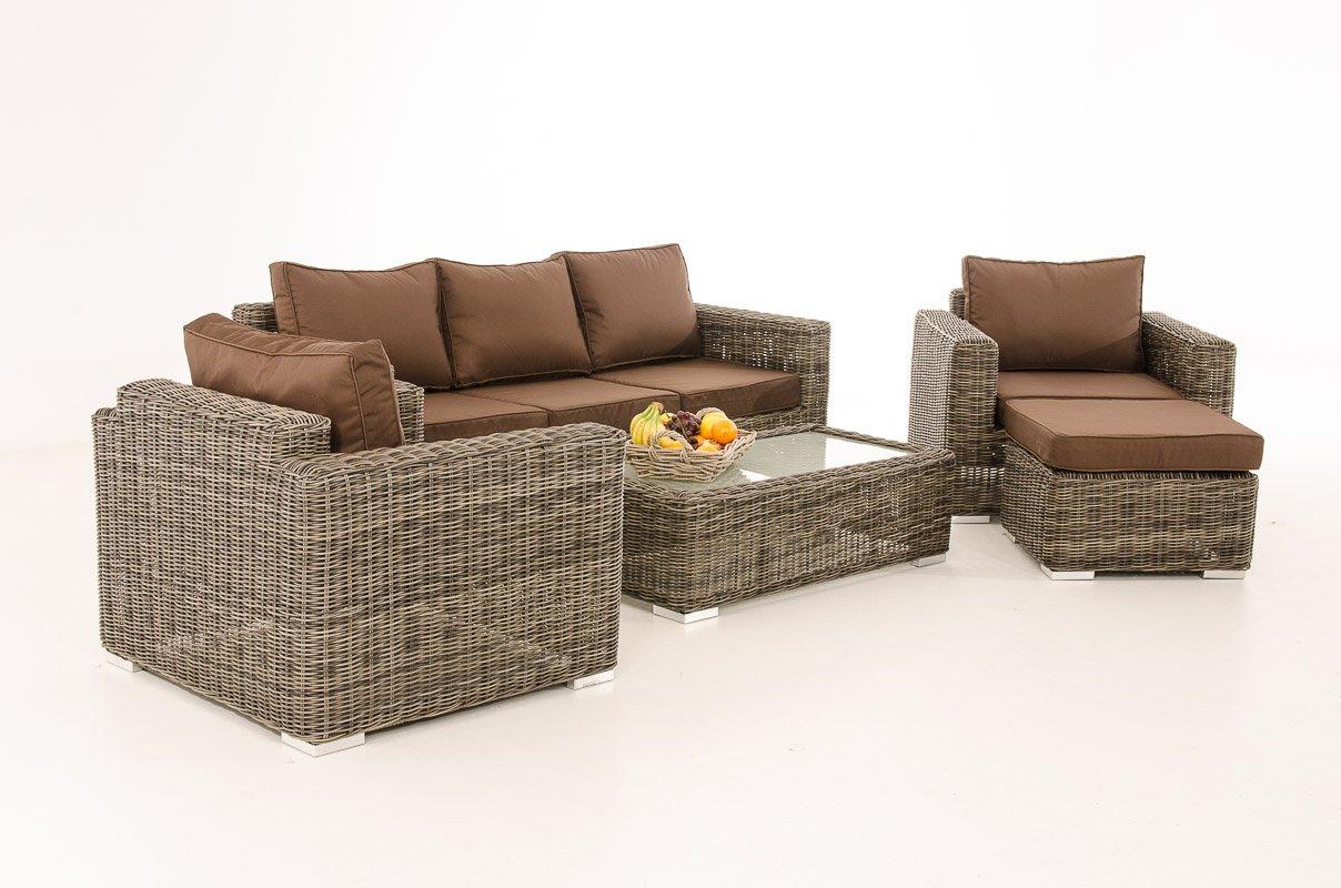 Mendler 3-1-1 Gartengarnitur CP053 Sitzgruppe Lounge-Garnitur Poly-Rattan ~ Kissen terrabraun, grau-meliert