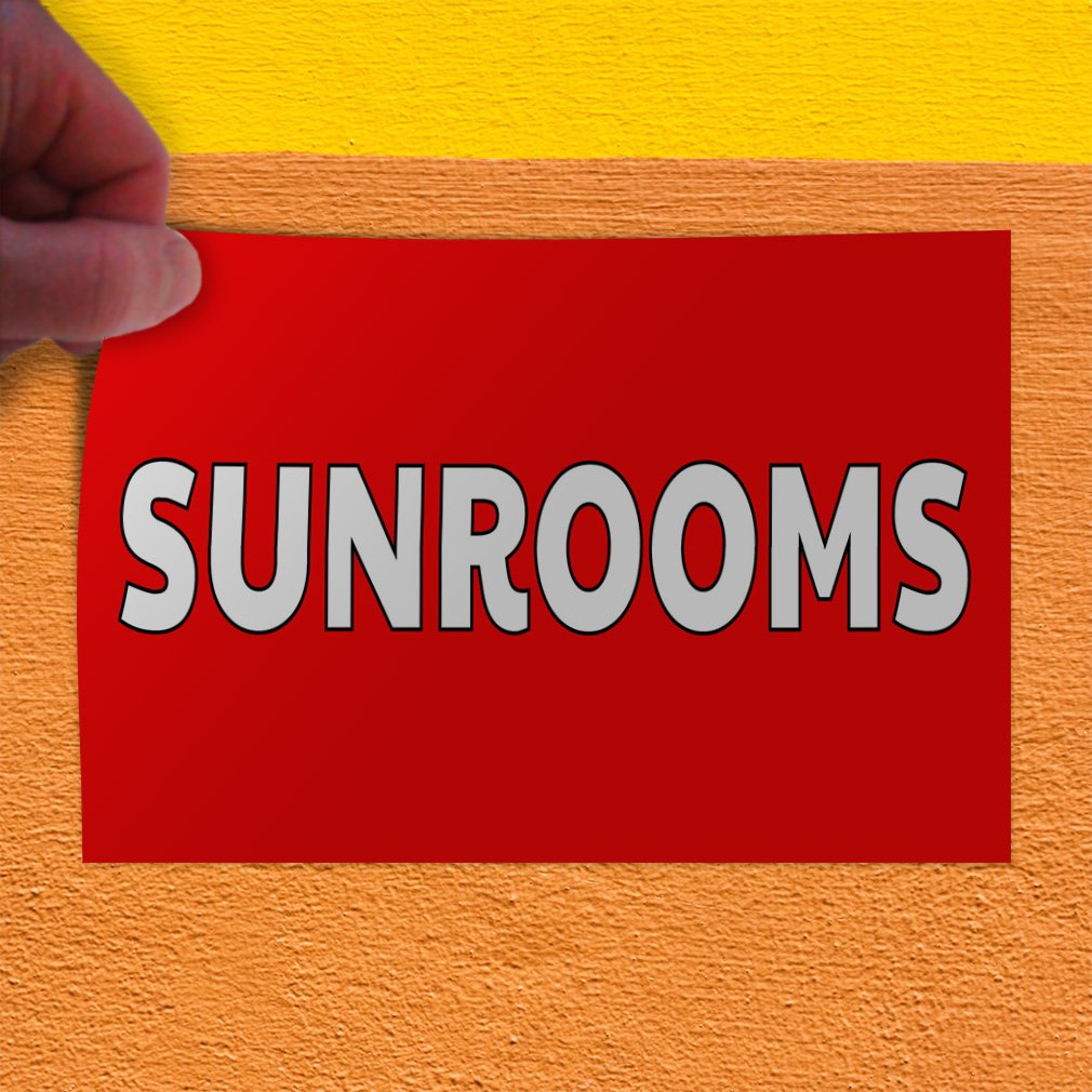 27inx18in Set of 5 Decal Sticker Multiple Sizes Sunrooms Industrial /& Craft Sunrooms Outdoor Store Sign Red