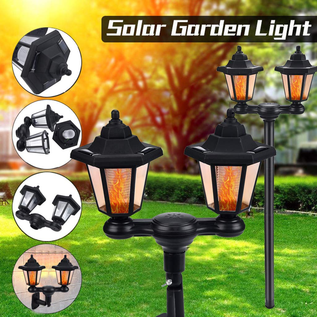 Double Head Solar Light - Garden Floor Lamp Waterproof Solar LED Torch Light Flame Wall Garden Yard Lamp Path Outdoor Safe for Patio Yard Decoration (Black) by GB4