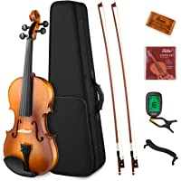 Eastar EVA-330 4/4 Solid Wood Violin Set Full Size for Students Kids Adults with Hard Case, Shoulder Rest, Rosin, Two Bow, Clip-on Tuner and Extra Strings