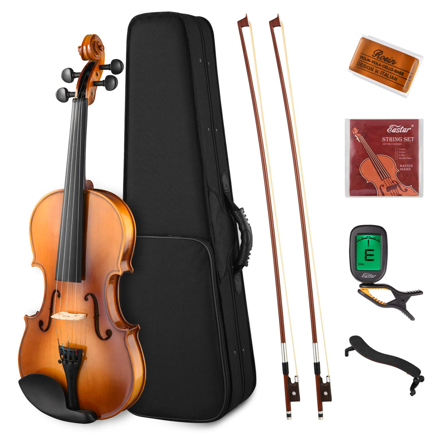 Eastar EVA-330 4/4 Solid Wood Violin Set Full Size with Hard Case, Shoulder Rest, Rosin, Two Bow, Clip-on Tuner and Extra Strings for Students Kids Adults by Eastar