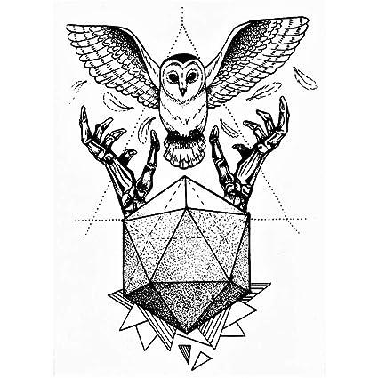Lecoolz - Tatuaje temporal, diseño de búho, tatuaje adhesivo ...