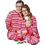 WensLTD Family Matching Christmas Pajamas Set - Deer Tops and Long Pants Sleepwear for Family