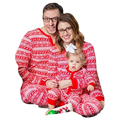 a0a5a223e27 WensLTD Family Matching Christmas Pajamas Set - Deer Tops and Long Pants  Sleepwear for Family (