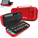 tomtoc Protective Case for Nintendo Switch Hard Shell Travel Storage Carrying Case Cover Box with 24 Game Cartridges and Handle for Nintendo Switch Console and Accessories - Red