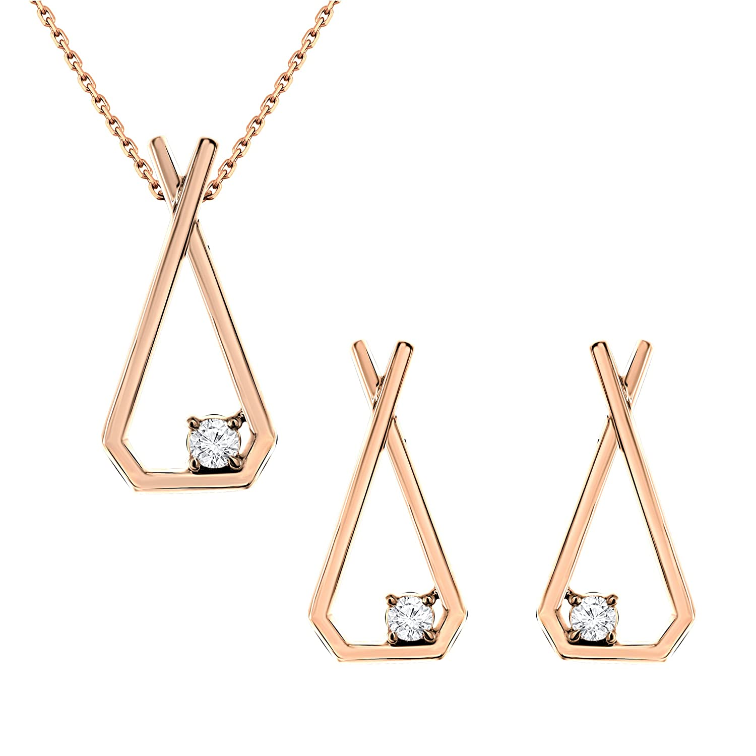 0.20 Ct. 18K Gold Round White Natural Diamond Stud Earrings Pendant Set Jewelry Set (Free Silver Chain)