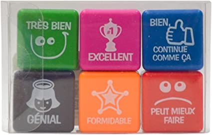 Pack 6 sellos motivación francés: Amazon.es: Oficina y papelería
