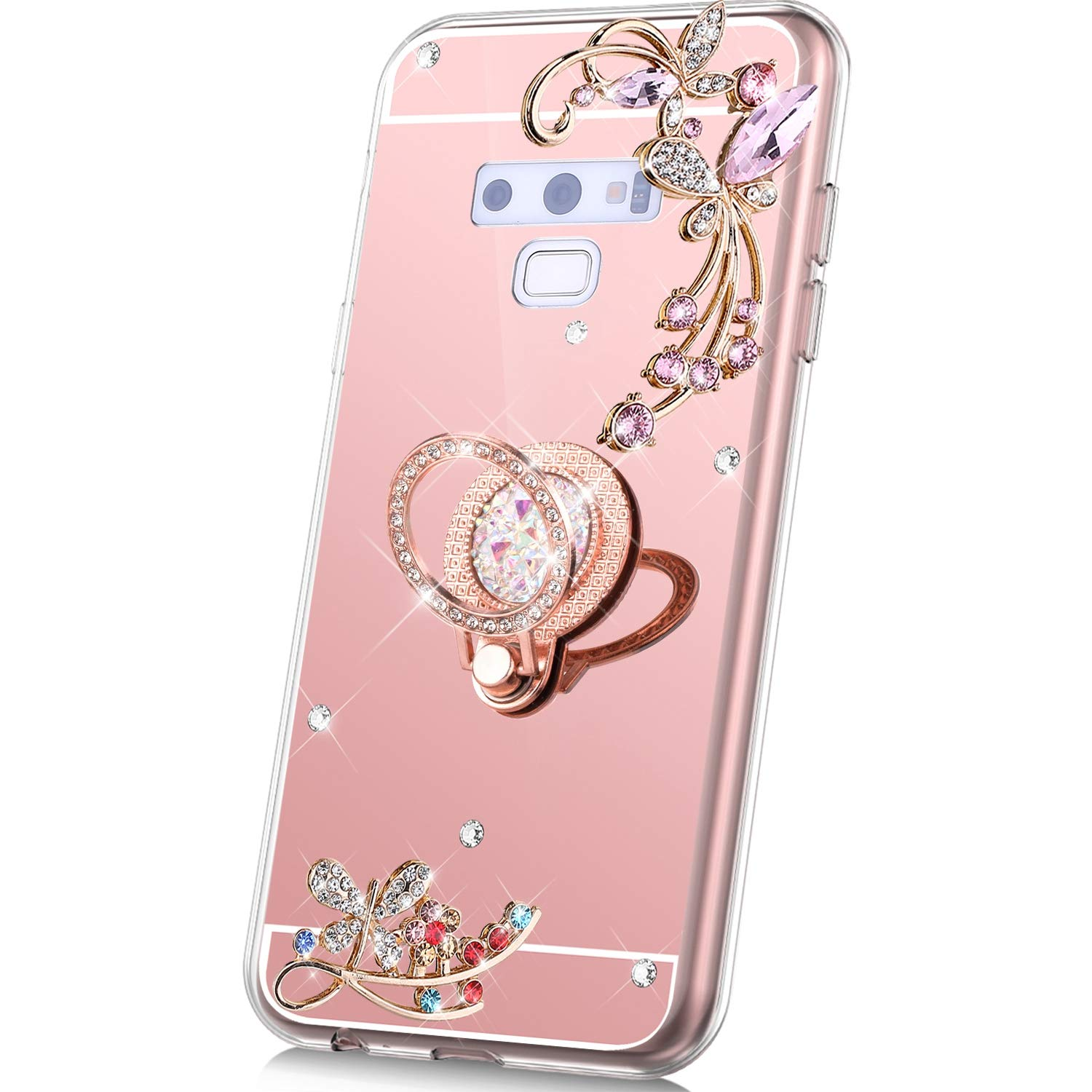 PHEZEN Case for Samsung Galaxy Note 9 Mirror Case,Bling Glitter Flowers Sparkle Rhinestone Mirror Back TPU Silicone Case Cover with Ring Kickstand Diamond Crystal Case for Galaxy Note 9,Rose Gold by PHEZEN