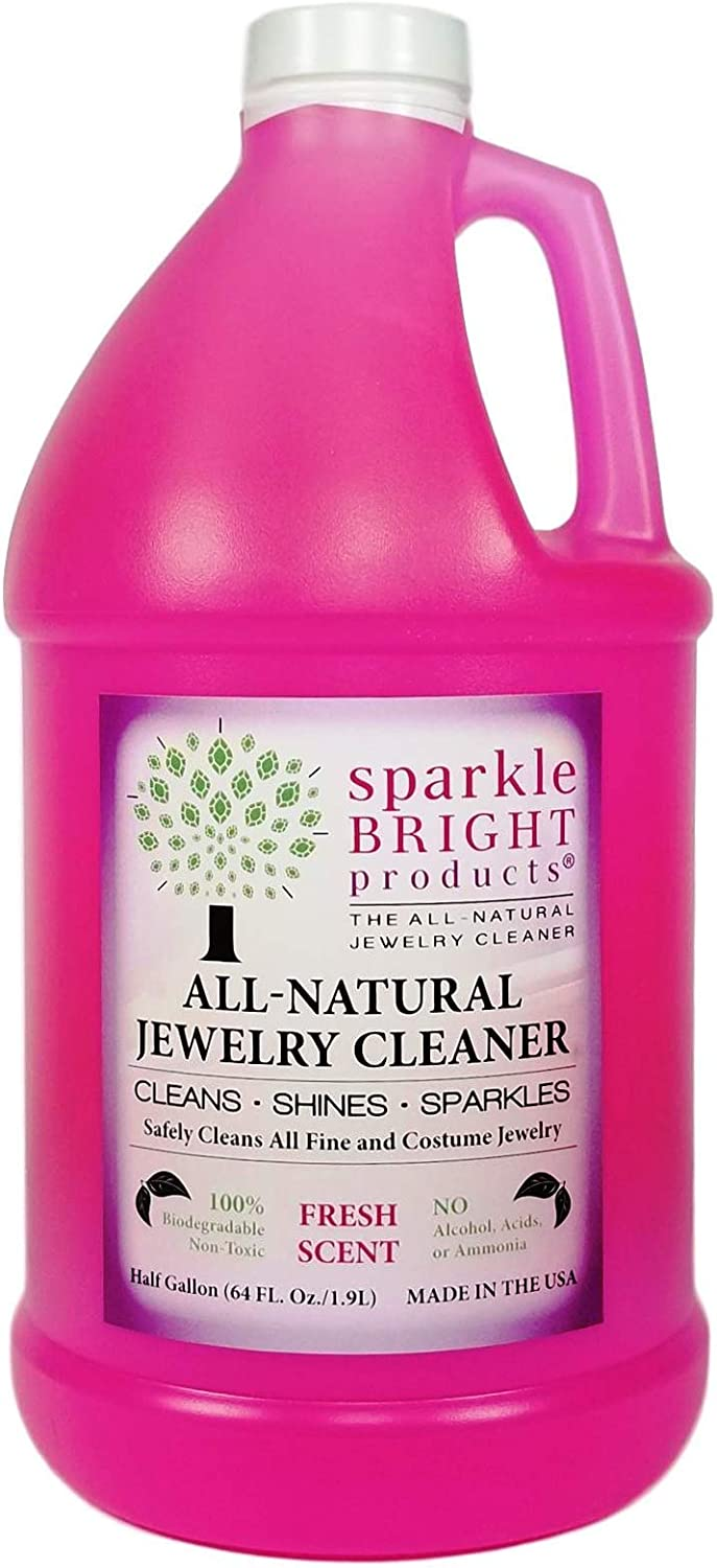 Sparkle Bright All-Natural Jewelry Cleaner Solution - Jewelry Cleaning for Ultrasonics, Gold, Silver, Diamonds, Fine, Fashion, and Designer Jewelry