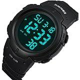 Multi Function Men's Watch Water Resistant Boyfriend Sports Watch Outdoor Digital LED Display (black)