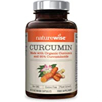 Organic Curcumin with Turmeric, Black Peeper and Ginger Root Extract from NatureWise - 60 Count