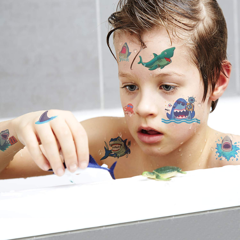 Tibur/ón Tatuajes Temporales para pi/ñata Ni/ños Infantiles Fiesta de Cumplea/ños Regalo UniBetter Tibur/ón Tatuajes para Ni/ños Ni/ñas 20 Hojas