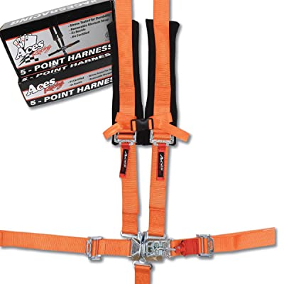 Aces Racing 5 Point Harness with 2 Inch Padding E4 Certified (Orange): Automotive