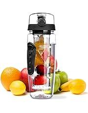 Infusor de Frutas Botella de Agua Grande 32oz – Nueva Canasta de Infusión de Longitud Completa/Libre de BPA Eastman Tritan – Presentando Una Varilla de Infusión de Longitud Completa, A Prueba de Fugas/Voltee la Tapa Superior/Agarre de Manos Doble