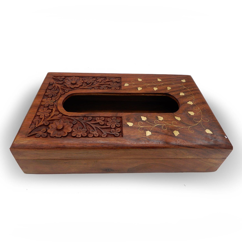 Khandekar (with device of K) Wood Brass Inlay Design Tissue Box, Tissue Box Holder, Wooden Tissue Paper Holder | Handmade | (10 x 6 inch)