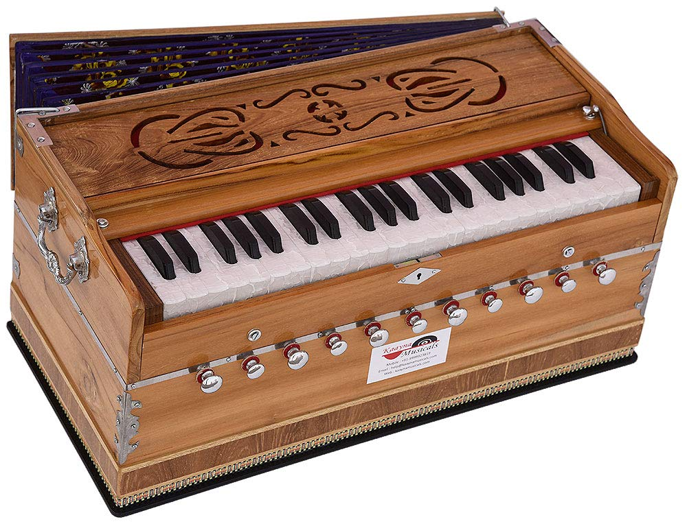 Harmonium Teak Wood By Kaayna Musicals, 11 Stops- 6 Main & 5 Drone, 3½ Octaves, Coupler, Natural Wood Color, Gig Bag, Bass/Male Reed- 440 Hz, Best for Yoga, Bhajan, Kirtan, Shruti, Mantra, etc by Kaayna Musicals