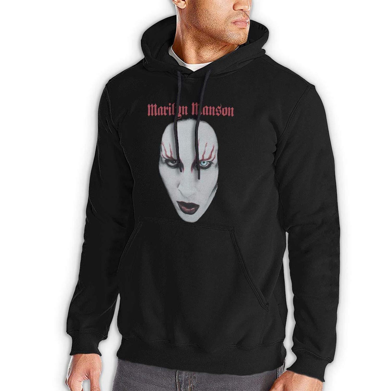 d1c352b0d Black LSalas Marilyn Manson Red Lips Lips Lips Men's Hooded Pocket Casual  Sweater 692978