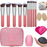 Makeup Brush Set - Makeup Cosmetic Bag, Makeup Remover Cloth Chemical Free, Cleaning Makeup Washing Brush, Konjac Sponges, Bath Shower Sponge Pouf, 2in1 Makeup Sponge Blender & Powder Puff