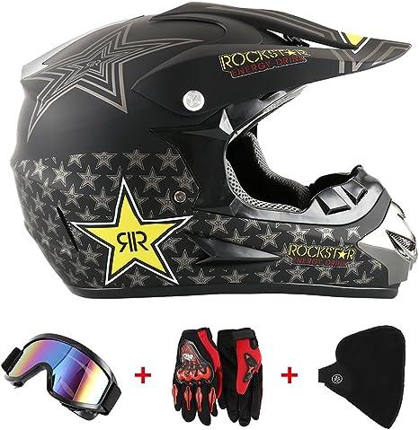 MRDEER/® Adult Motocross Helm Set mit Handschuhe Maske Brille Unisex Off Road Helm Kit Motorradhelm Cross Helme Schutzhelm ATV Helm mit Herausnehmbares Innenfutter